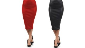 Ladies' Leather Look Pencil Skirt