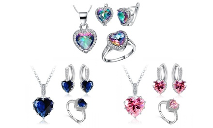 Heart-Tri Set with Crystals